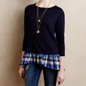 Anthropologie Sz M Plaid Hem Pullover Everleigh